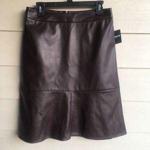 NWT Liz Claiborne Brown A-Line Pleather Skirt 6